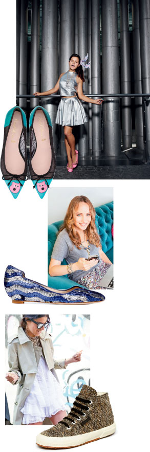 From top: Bip Ling's colorful collection for Pretty Ballerinas; Grace Atwood of Stripes & Sequins put a sparkly spin on Matt Bernson's flats; The Man Repeller dressed up Superga's sneakers in velvet and bouclé.