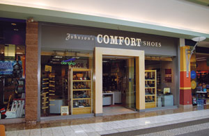 Three Johnson's Shoes stores are located in bustling shopping centers, including this one in Redding, CA.